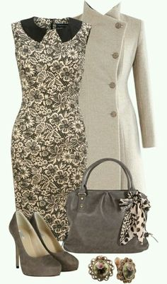 Classy ladylike pieces. I LOVE this outfit. It has a vintage 1940's vibe to it, but still modern-classic-chic, especially that over coat.   G;)