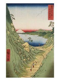 Giclee Print: Shiojiri Pass in Shinano Province, from 'Thirty Six Views of Mount Fuji' by Ando Hiroshige : 24x18in