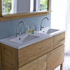 Waschtisch aus Eiche mit Keramikwaschbecken 120 Easy - - Tikamoon
