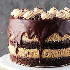 Peanut Butter Cookie Dough Brownie Layer Cake - layers of eggless pb cookie dough and brownies topped with chocolate ganache!