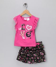 Take a look at this Pink 'Love' Ruffle Top & Skirt - Infant, Toddler & Girls by Nannette Girls on #zulily today!