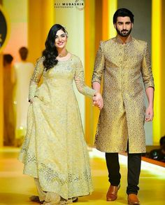 Sarah Khan and Agha Ali at #BCW2017 #PakistaniCouture #PakistaniActress