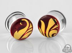 Pyrex glass colorfront plugs (Flora and fauna on red)