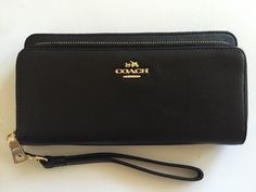 Coach F52103 Smooth Leather Double Zip Accordion Wallet Black   eBay