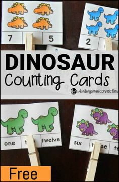 Dinosaur Counting Cards Have a child who loves dinosaurs? Work on numbers and number words with these fun and free dinosaur counting cards!Have a child who loves dinosaurs? Work on numbers and number words with these fun and free dinosaur counting cards! Dinosaur Classroom, Dinosaur Theme Preschool, Dinosaur Crafts, Preschool Themes, Preschool Lessons, Preschool Kindergarten, Preschool Learning, Math Activities, Math Lessons