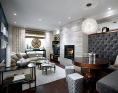 Highback / Tufted Banquette in Grey Tones