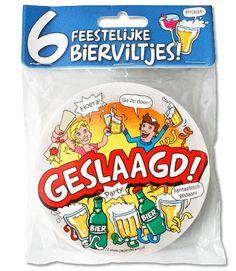 Bierviltjes-Geslaagd nr.12  6 feestelijke en vrolijke bierviltjes. De bierviltjes zijn leuk om cadeau te geven of om te gebruiken op tafel tijdens een feestje.  EUR 6.27  Meer informatie