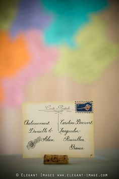 French postcard escort card, stamp signifies entree choice - cloud 9 weddings
