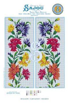 Cross stitch pattern chart  flower motif  reedition Carnation