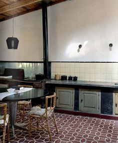 Contemporary kitchens with cement tiles  Image by Nathalie Krag via Elle Decor Italia 2013