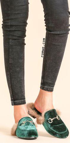 Dark Green Velvet Fur Lined Loafer Slippers