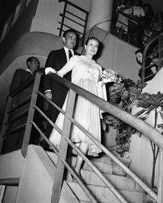 August 04, 1956: Prince Rainier of Monaco and his wife, Princess Grace , at Monaco Theatre. This was their first public appearance since the announcement that the Princess is expecting a baby.