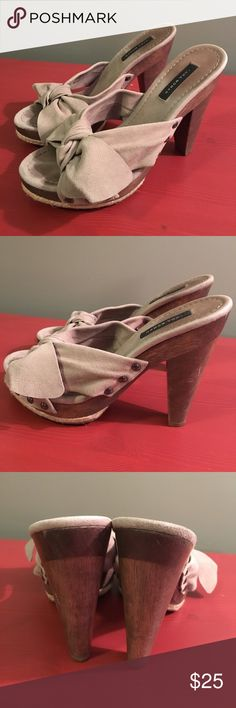 Zara Super Cute Slides with Floppy Bow size 39 Worn, but still tons of life!  Perfect for Summer!!  Size 39, fits size 8-8.5 best. Zara Shoes Heels