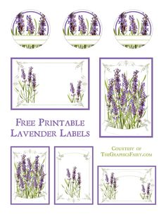 Vintage Labels Lavender Labels Printable - The Graphics Fairy - Lavender Labels Printable. Today we are sharing some lavender themed printable labels. These would look cute on your mason jars, or as gift tags! Vintage Frames, Images Vintage, Vintage Postcards, Graphics Fairy, Printable Art, Free Printables, Free Printable Labels Templates, Labels Free, Printable Vintage