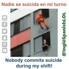 Funny Spanish Lesson- No Suicides on my Watch! - Learn Spanish / English by laughing with bilingual video memes- Learn English with funny, funny, an - Funny Minion Memes, Crazy Funny Memes, Funny Video Memes, Stupid Memes, Funny Relatable Memes, Funny Jokes, Memes Estúpidos, Kpop Memes, Funny Spanish Memes