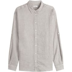 Closed Cotton Blouse (3.670 CZK) ❤ liked on Polyvore featuring tops, blouses, grey, grey top, gray blouse, long sleeve cotton tops, long sleeve tops and button up blouse