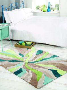 Tapis SPLINTER 120x170 Coloris Turquoise/Vert au meilleur prix ! - LeKingStore