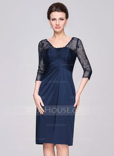 Sheath/Column V-neck Knee-Length Ruffle Zipper Up Sleeves 1/2 Sleeves No 2015 Grape Spring Summer Fall General Plus Lace Jersey Mother of the Bride Dress