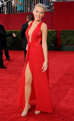 BAM. Bombshell Blake Lively Is Our Style Icon of the Week Sizzle. Blake showed off a whole lotta leg and cleavage in red Versace at the Emmy Awards in 2009.