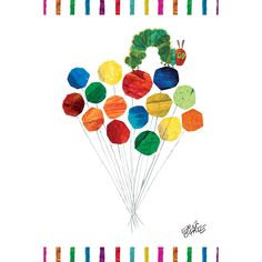 """Marmont Hill - """"Caterpillar On Balloons"""" by Eric Carle Painting Print on"""