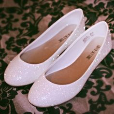 White Glitter Bridal Shoes Wedding Flats by ashleybrooks1984, $50.00 Put these on after the ceremony for the reception