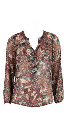 5b7a0e1220f9f TPLATANE NOIR/MULTI,blouse imprimé fleurs et feuillage,coloris kaki,rouge  vendue sur www.depechmod.fr