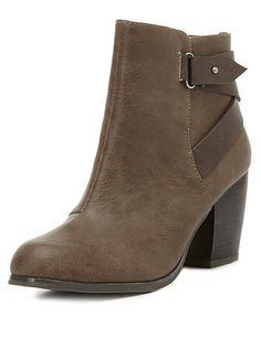 Belted Chunky Heel Ankle Boots