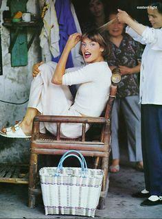 US Vogue December 1993 . Linda Evangelista by Arthur Elgort.