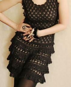 Handknit dress with ruffles