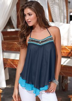 Blue Multi Embellished halter top from VENUS. Available in sizes XS-XL!