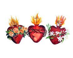 The Hearts of the Holy Family, Sacred Heart of Jesus, Immaculate Heart of Mary, Pure Heart of Joseph, Chaste Heart of Joseph Jesus Painting, Heart Painting, Catholic Art, Religious Art, Religious Tattoos, Coeur Tattoo, Prayers To Mary, Sacred Heart Tattoos, Jesus E Maria