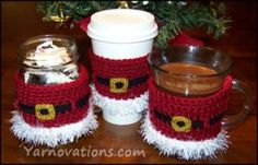 crochet santa jar or cup cozy and peppermint bark recipe