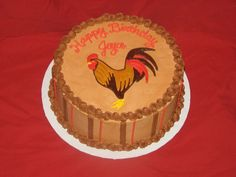 Rooster Birthday Cake — Birthday Cakes 75th Birthday, Cake Birthday, Birthday Ideas, Cupcake Cookies, Cupcakes, Animal Cakes, Cowboy Party, Cake Gallery, Cake Decorating