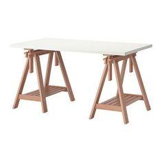 IKEA - LINNMON / FINNVARD, Mesa, blanco/haya, , Tan solo ajustando el caballete puedes elegir entre un tablero plano o inclinado, que te irá mejor…