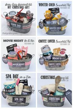 Gift in a Tin: Christmas Baking Kit DIY Gift Basket Ideas : for Spa Day , Coffee Lovers, Winter Christmas & Movie Night.)DIY Gift Basket Ideas : for Spa Day , Coffee Lovers, Winter Christmas & Movie Night. Creative Gifts, Cool Gifts, Creative Christmas Gifts, Diy Gifts For Him, Cheap Gifts, Diy Xmas Gifts For Boyfriend, Gifts In A Box, Move In Gifts, Diy Gift For Sister