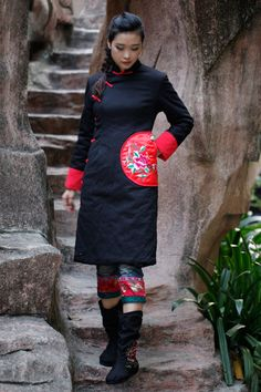 Plus Size Women Coat Black Long Jacket with Red Pocket Fashion Custom Size Jacket Maxi Fashion