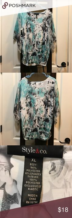 Cute top Style & Company XL top, pretty flowing sleeves. Worn once. Style & Co Tops Blouses