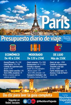How much does it cost to travel to Paris - Budget and guide- Backpacking .- Cuánto cuesta viajar a Paris – Presupuesto y guía- Mochilero Viajando How much does it cost to travel to Paris – Budget and guide – Backpacking Traveling - Travel Destinations Beach, Places To Travel, Paris Budget, Francia Paris, South America Travel, Vietnam Travel, Travel Goals, France Travel, Travel Guide