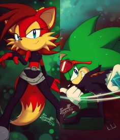 Fiona Fox & Scourge The Hedgehog! One of my OTPs!♥  Artwork done by: http://hydro-king.deviantart.com/