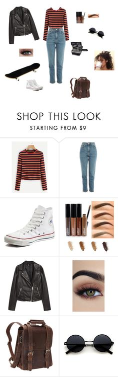 """""""80s chic"""" by sopfus09 ❤ liked on Polyvore featuring Topshop, Converse, H&M, Vagabond Traveler and Polaroid"""