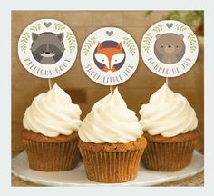 Woodland Animal Baby Shower, Cupcake Toppers