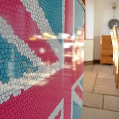 YOYO Mosaic Union Jack radiator cover in Pink and Cyan Blue (From Couture Cases Ltd)