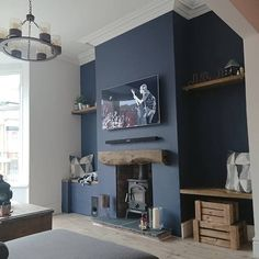 Great Totally Free Fireplace Remodel blue Concepts – Rebel Without Applause Cosy Living Room Small, Living Room Decor Cozy, Living Room Grey, Home Living Room, Interior Design Living Room, Log Burner Living Room, Living Room With Fireplace, Small House Renovation, Home Cinema Room