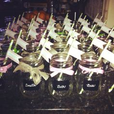 For my bridal shower gifts I bought mason jars from Kmart online. I ordered chalkboard stickers on etsy. Custom ordered pink and green paper straws with a quote on it. Tied burlap and ribbon around the top. And topped the jars off with writing every guests name with chalk markers.