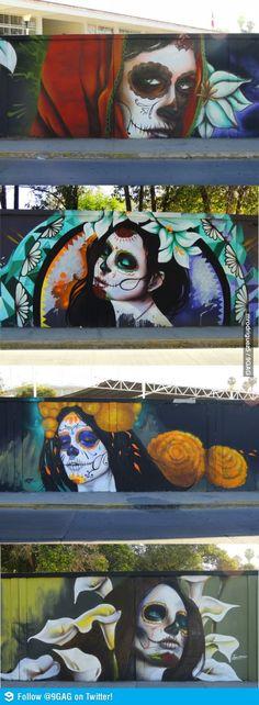 So pretty. Street art in Mexico. La catrina moderna en Aguascalientes México.