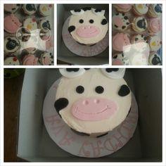 Farm animal cake and cupcakes