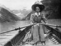 Remarks: Lady in boat is Zola Campbell on her honeymoon, rowing on Lake Louise.  Glenbow Museum, Canada  Title: Boating on Lake Louise, Alberta.  Date: [ca. 1910-1913]