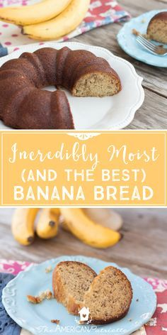 Incredibly moist and sweet, this banana bread is the best I've had! I love breakfast breads, and this one is probably my absolute favorite out of all of them. Perfect for a mid-morning snack, to serve with brunch, or to even make for dessert, this banana bread won't disappoint! Click for the recipe!
