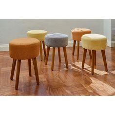 Experience classic design with this handsome, handcrafted mid-century modern inspired stool. The angled wood legs complement the woven linen seat to give the stool an organic texture. Round Stool, Round Ottoman, Modern Ottoman, Puff Gigante, Living Room Furniture, Modern Furniture, Studio Furniture, Painted Furniture, Upholstered Stool