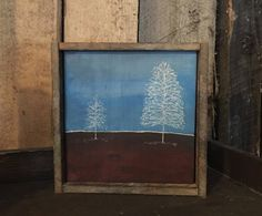 Modern Rustic Decor, Primitive Wall Art, Trees, Blue Brown, Farmhouse, Cabin, Country, Lodge, Reclaimed Wood, Small Space, Unique Gift